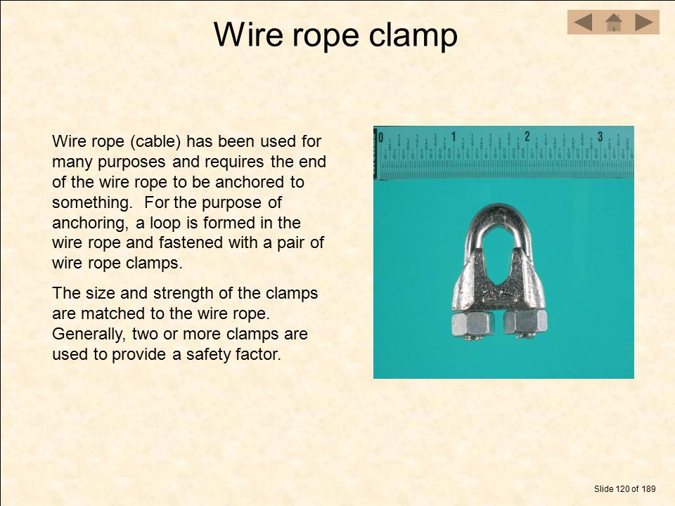 Wire rope clamp Slide 120 of 189 Wire rope (cable) has been used for many purposes and requires the end of the wire rope to be anchored to something.
