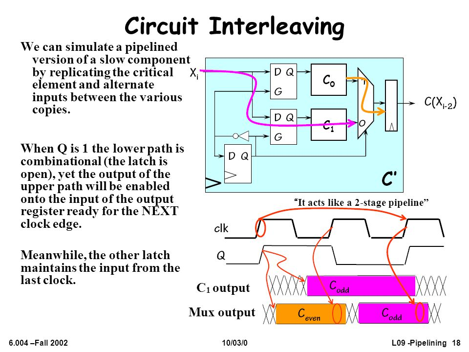 6.004 –Fall 200210/03/0L09 -Pipelining 18 Circuit Interleaving When Q is 1 the lower path is combinational (the latch is open), yet the output of the