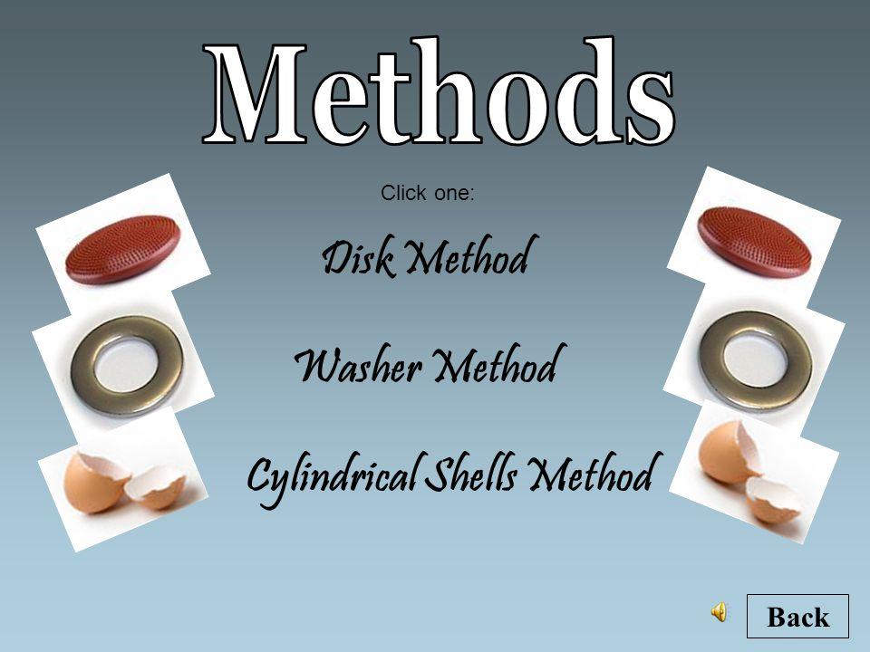 Disk Method Cylindrical Shells Method Washer Method Back Click one: