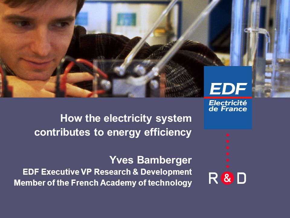 EDF R&D3 1 - The electricity system, an asset for Europe 2 - How to evaluate the sustainable energy efficiency .