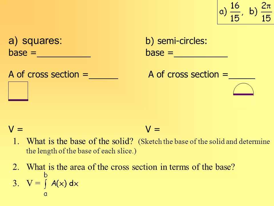 a)squares: b) semi-circles:base = A of cross section = V = 1.What is the base of the solid.