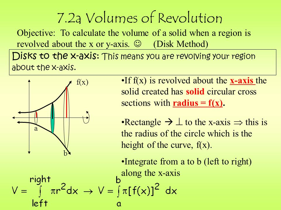 7.2a Volumes of Revolution Objective: To calculate the volume of a solid when a region is revolved about the x or y-axis.