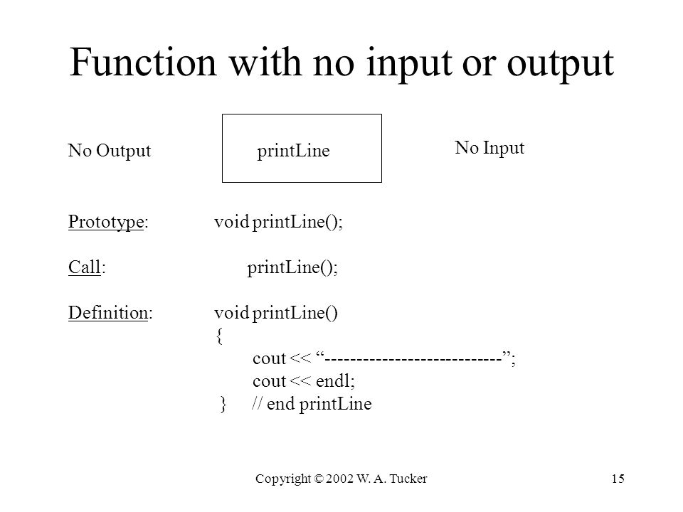Copyright © 2002 W. A. Tucker15 Function with no input or output No Input No OutputprintLine Prototype: void printLine(); Call: printLine(); Definitio