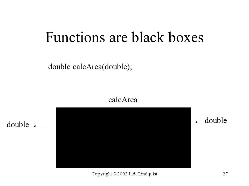 Copyright © 2002 Jade Lindquist27 Functions are black boxes double calcArea double calcArea(double);