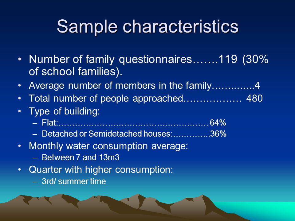 Sample characteristics Number of family questionnaires…….119 (30% of school families).