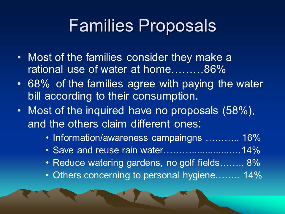 Families Proposals Most of the families consider they make a rational use of water at home………86% 68% of the families agree with paying the water bill according to their consumption.