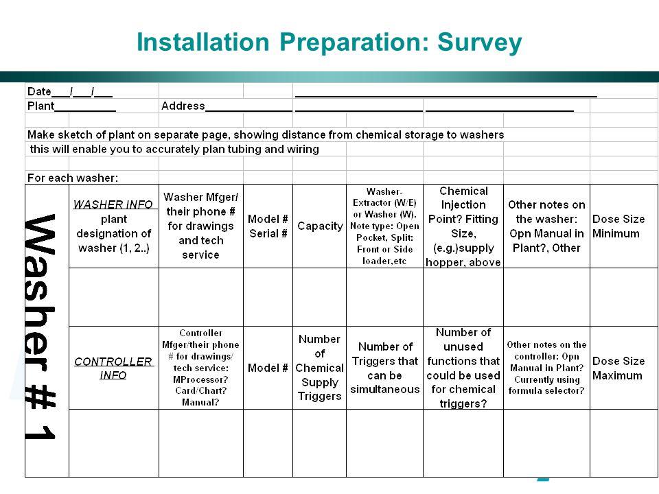 Installation Preparation: Survey