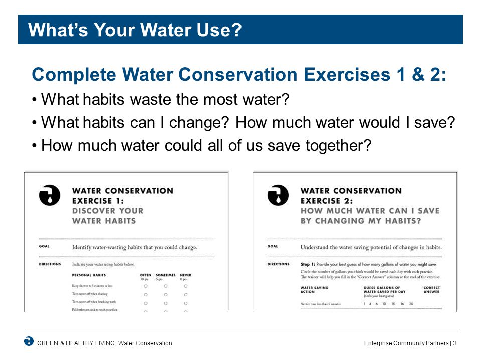 Enterprise Community Partners | 3GREEN & HEALTHY LIVING: Water Conservation What's Your Water Use.