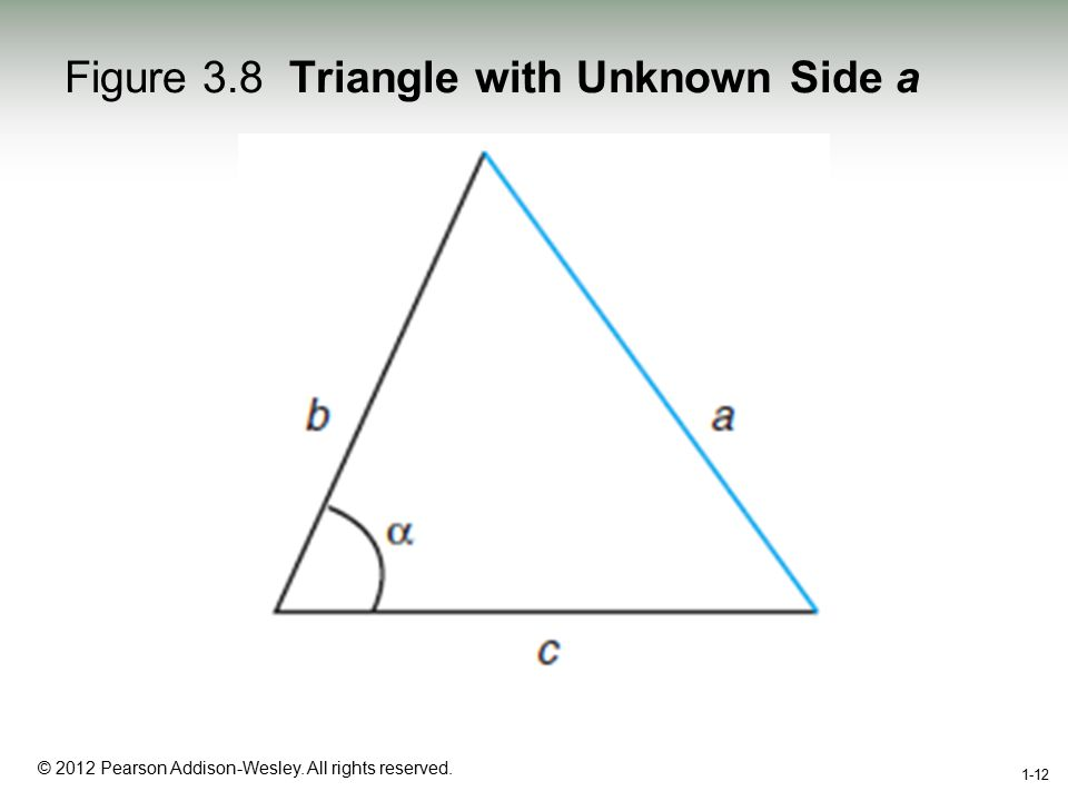1-12 © 2012 Pearson Addison-Wesley. All rights reserved. 1-12 Figure 3.8 Triangle with Unknown Side a