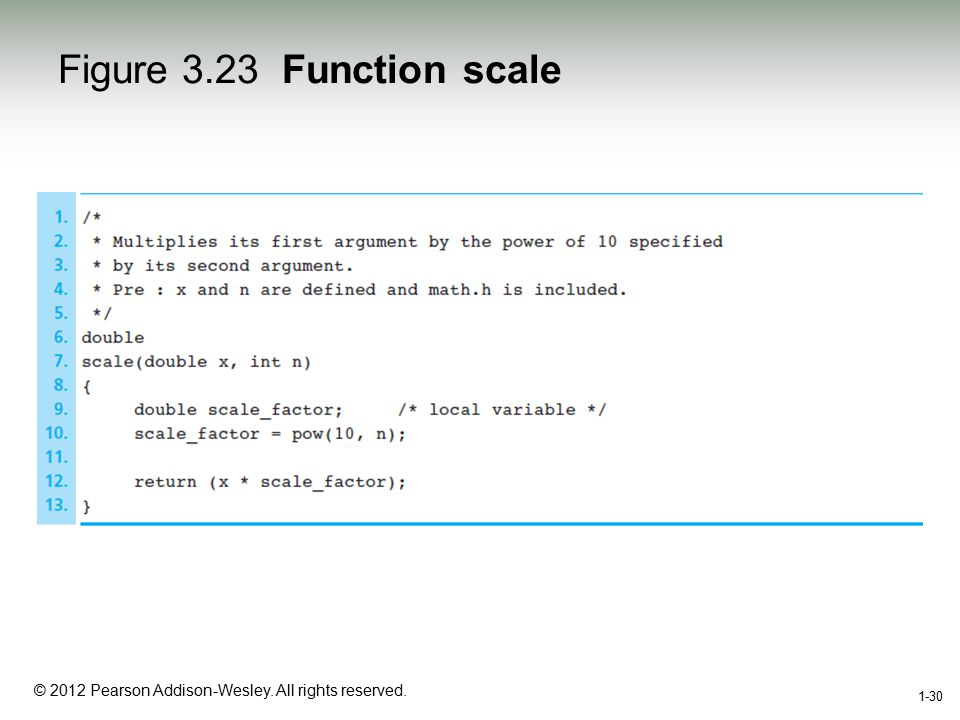 1-30 © 2012 Pearson Addison-Wesley. All rights reserved. 1-30 Figure 3.23 Function scale
