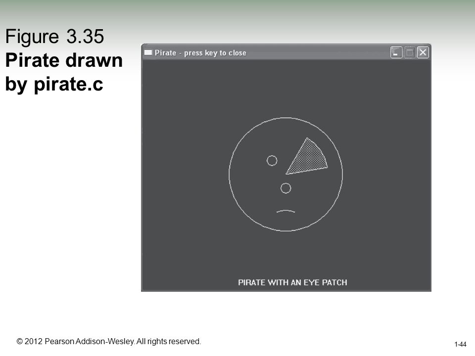 1-44 © 2012 Pearson Addison-Wesley. All rights reserved. 1-44 Figure 3.35 Pirate drawn by pirate.c