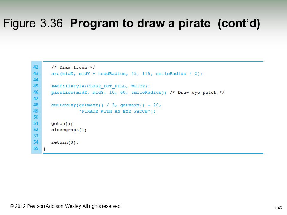 1-46 © 2012 Pearson Addison-Wesley. All rights reserved. 1-46 Figure 3.36 Program to draw a pirate (cont'd)