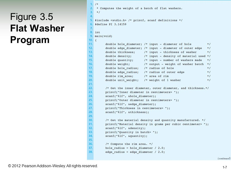 1-7 © 2012 Pearson Addison-Wesley. All rights reserved. 1-7 Figure 3.5 Flat Washer Program