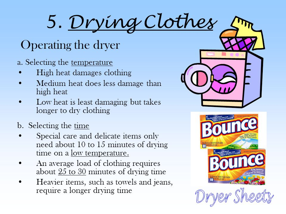5.Drying Clothes Operating the dryer a.