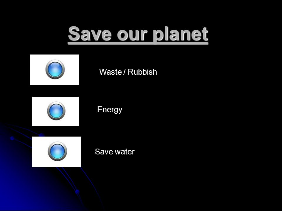 Save our planet Waste / Rubbish Energy Save water