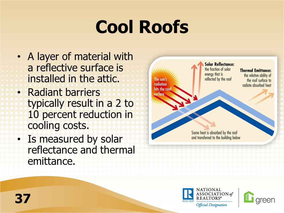 Cool Roofs A layer of material with a reflective surface is installed in the attic.