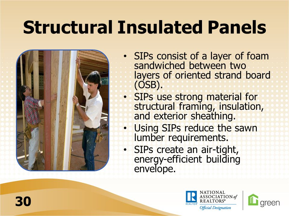 Structural Insulated Panels SIPs consist of a layer of foam sandwiched between two layers of oriented strand board (OSB).