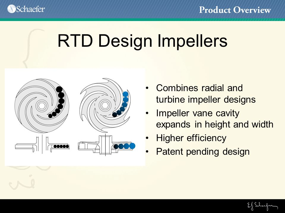 RTD Design Impellers Combines radial and turbine impeller designs Impeller vane cavity expands in height and width Higher efficiency Patent pending design
