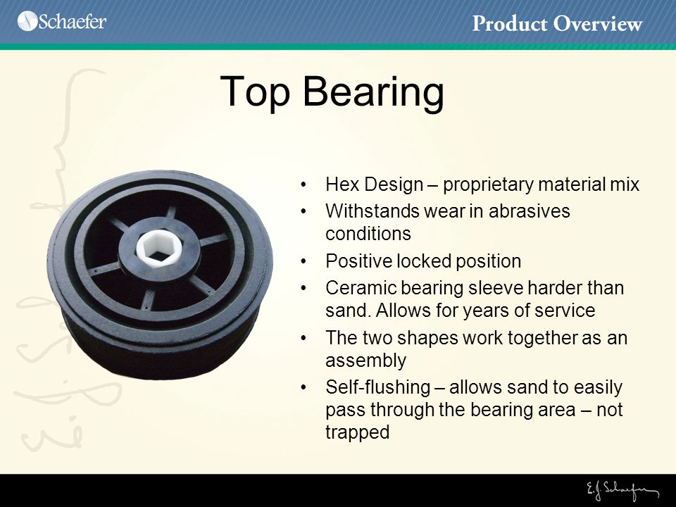 Top Bearing Hex Design – proprietary material mix Withstands wear in abrasives conditions Positive locked position Ceramic bearing sleeve harder than sand.