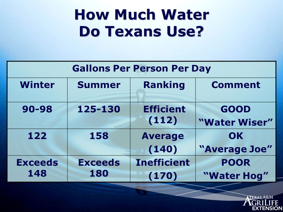 "How Much Water Do Texans Use? Gallons Per Person Per Day WinterSummer RankingComment 90-98125-130 Efficient (112) GOOD ""Water Wiser"" 122158Average (14"