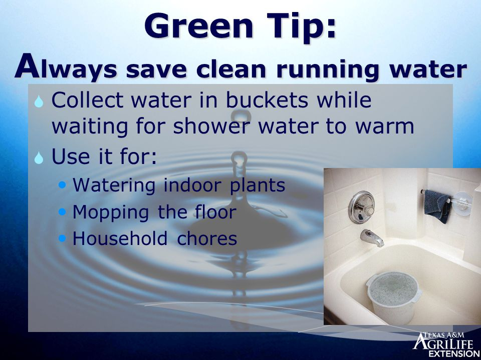 Green Tip: A lways save clean running water  Collect water in buckets while waiting for shower water to warm  Use it for: Watering indoor plants Mopping the floor Household chores