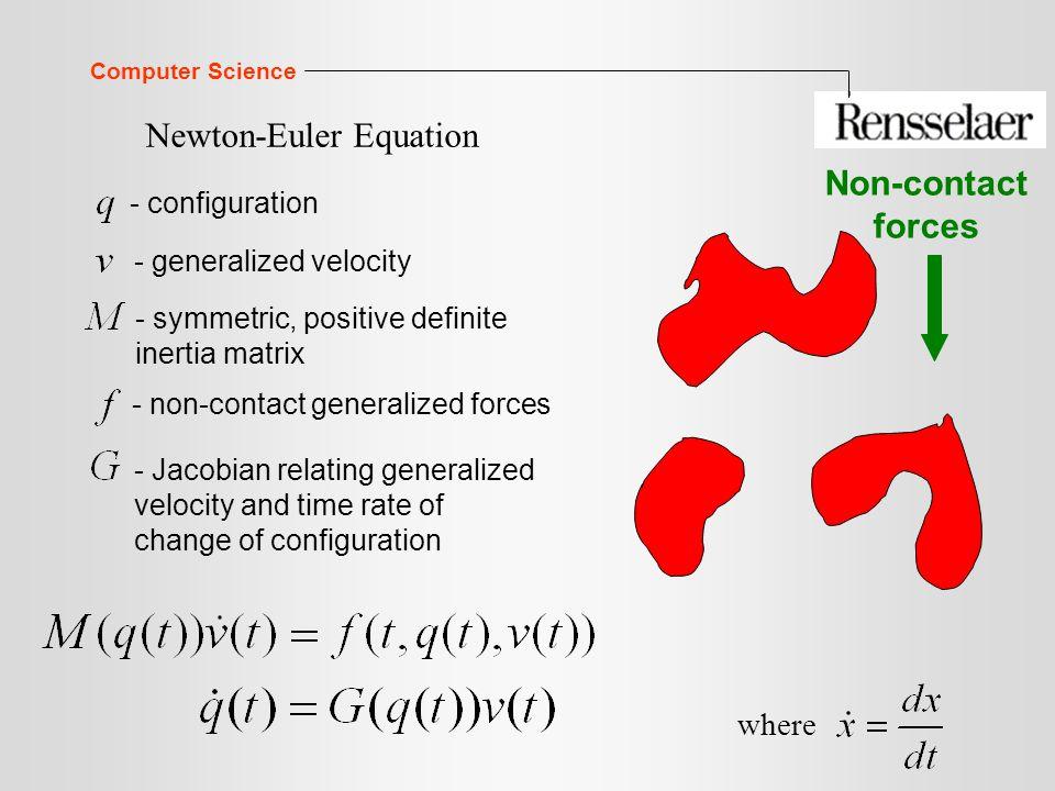 Computer Science Newton-Euler Equation Non-contact forces - configuration - generalized velocity - symmetric, positive definite inertia matrix - non-contact generalized forces - Jacobian relating generalized velocity and time rate of change of configuration where