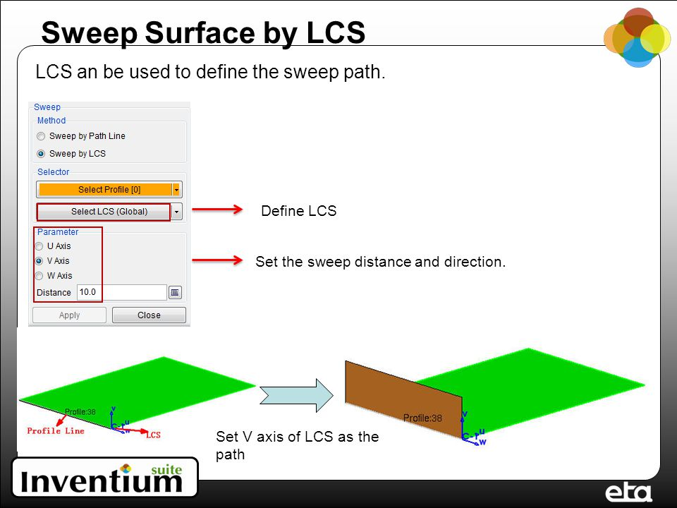 Sweep Surface by LCS LCS an be used to define the sweep path.