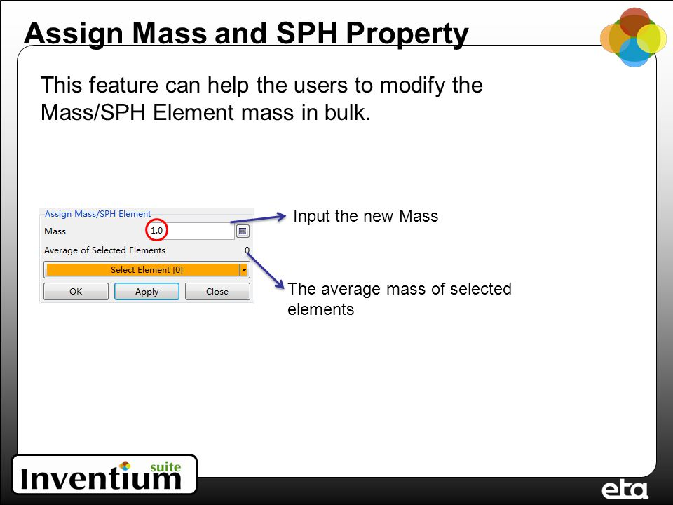 Input the new Mass The average mass of selected elements This feature can help the users to modify the Mass/SPH Element mass in bulk.