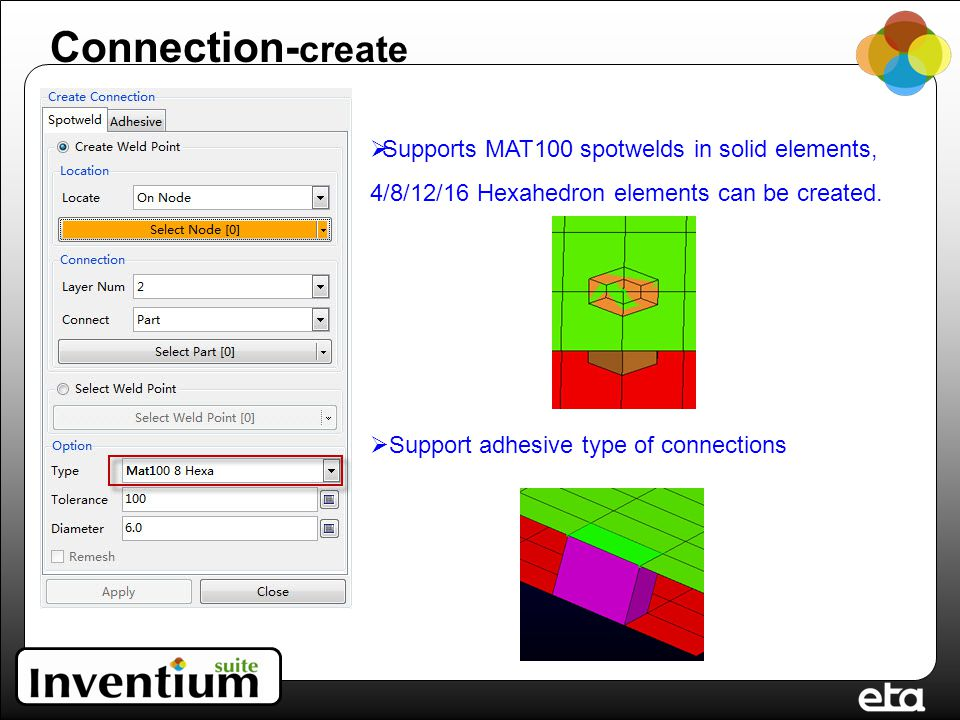 Connection- create  Supports MAT100 spotwelds in solid elements, 4/8/12/16 Hexahedron elements can be created.