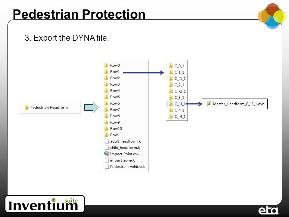 3. Export the DYNA file. Pedestrian Protection