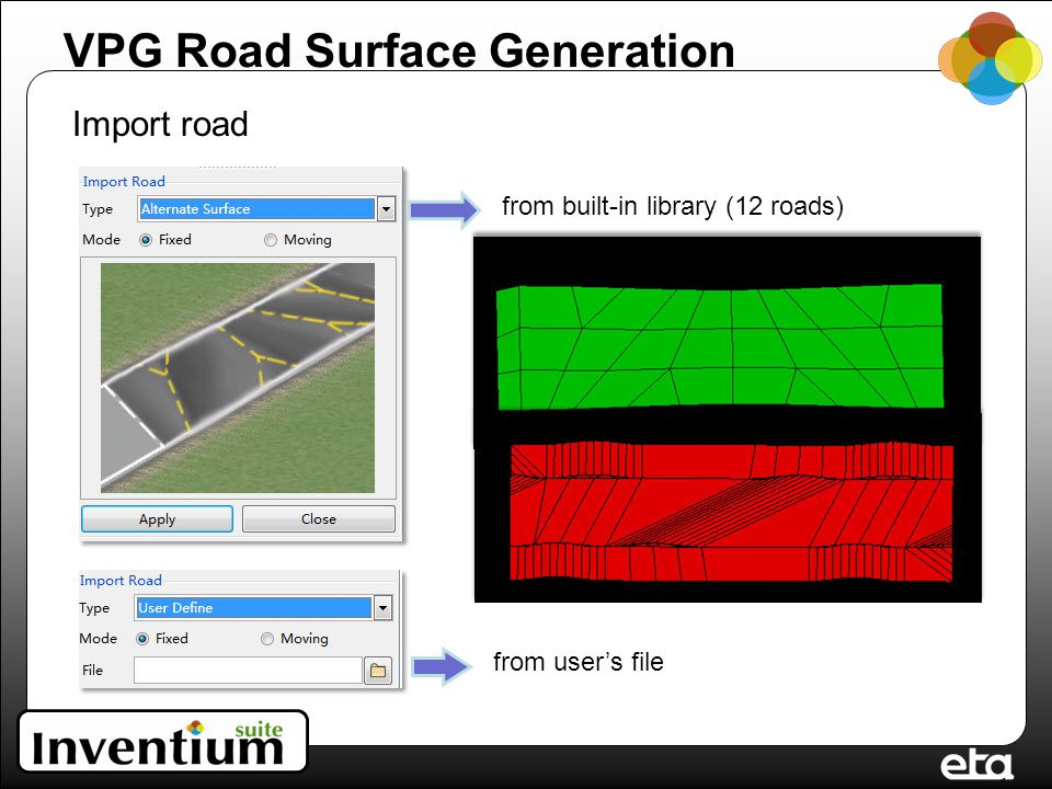 VPG Road Surface Generation Import road from built-in library (12 roads) from user's file