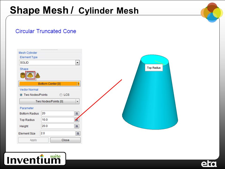 Circular Truncated Cone Shape Mesh / Cylinder Mesh