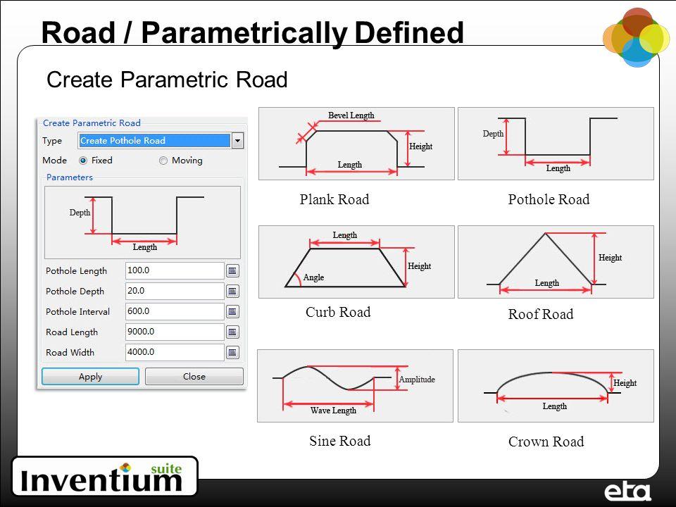 Road / Parametrically Defined Create Parametric Road Plank RoadPothole Road Curb Road Roof Road Sine Road Crown Road
