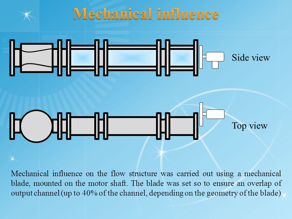 Mechanical influence on the flow structure was carried out using a mechanical blade, mounted on the motor shaft.