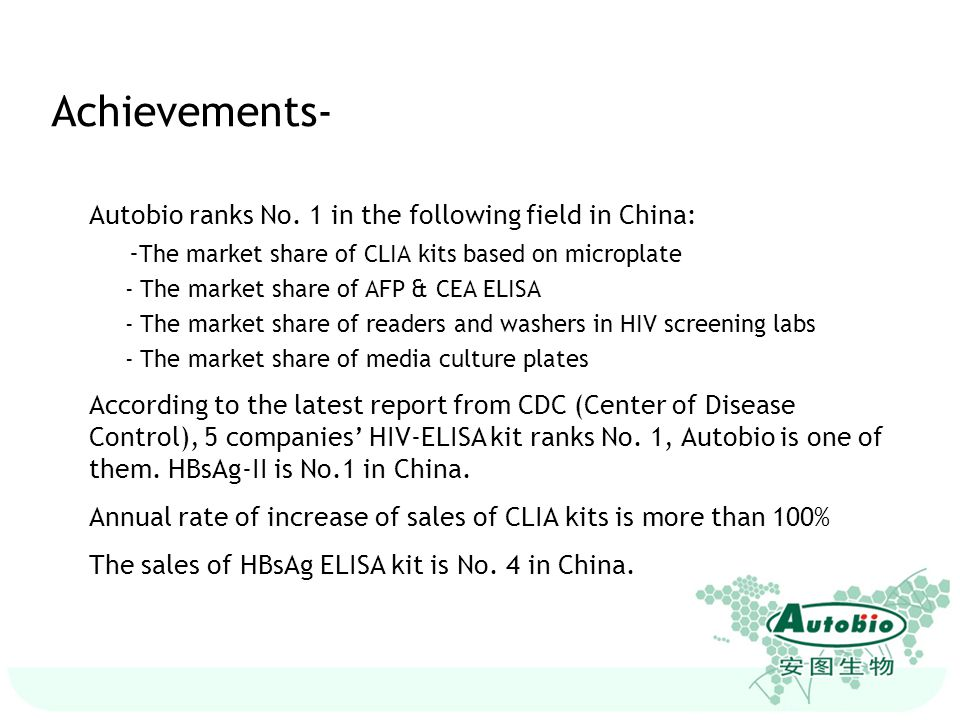 Achievements- Autobio ranks No. 1 in the following field in China: - The market share of CLIA kits based on microplate - The market share of AFP & CEA