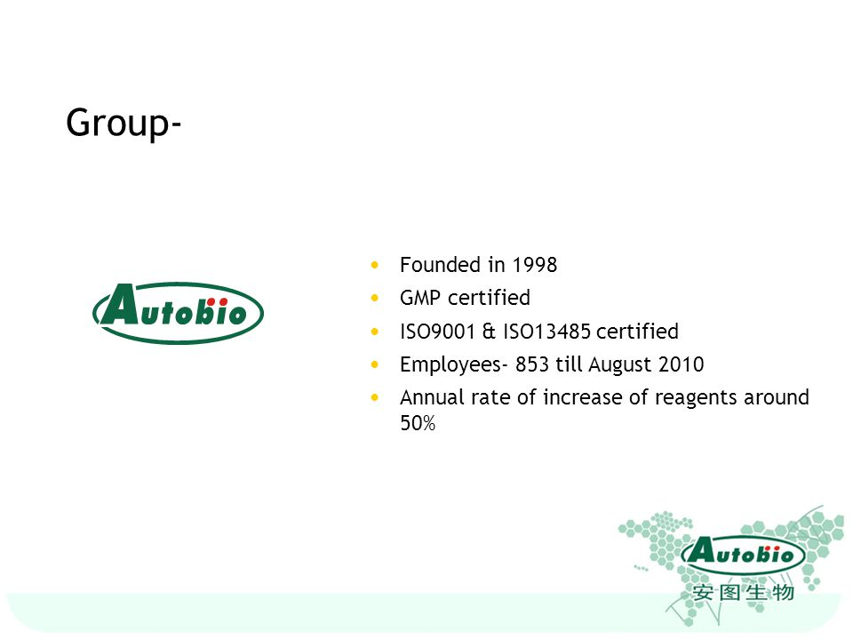 Founded in 1998 GMP certified ISO9001 & ISO13485 certified Employees- 853 till August 2010 Annual rate of increase of reagents around 50%