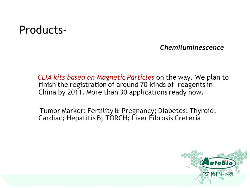 Hepatitis: HAV, HBV, HCV HIV Tumor Marker: AFP, CEA, EB Thyroid: T3, T4, TSH, FT3, FT4, Neonate TSH TORCH HTLV Products- ELISA Test Kits