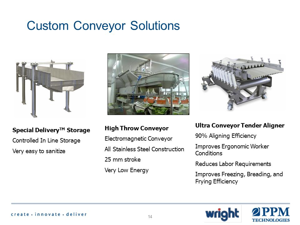14 Custom Conveyor Solutions Ultra Conveyor Tender Aligner 90% Aligning Efficiency Improves Ergonomic Worker Conditions Reduces Labor Requirements Improves Freezing, Breading, and Frying Efficiency Special Delivery TM Storage Controlled In Line Storage Very easy to sanitize High Throw Conveyor Electromagnetic Conveyor All Stainless Steel Construction 25 mm stroke Very Low Energy