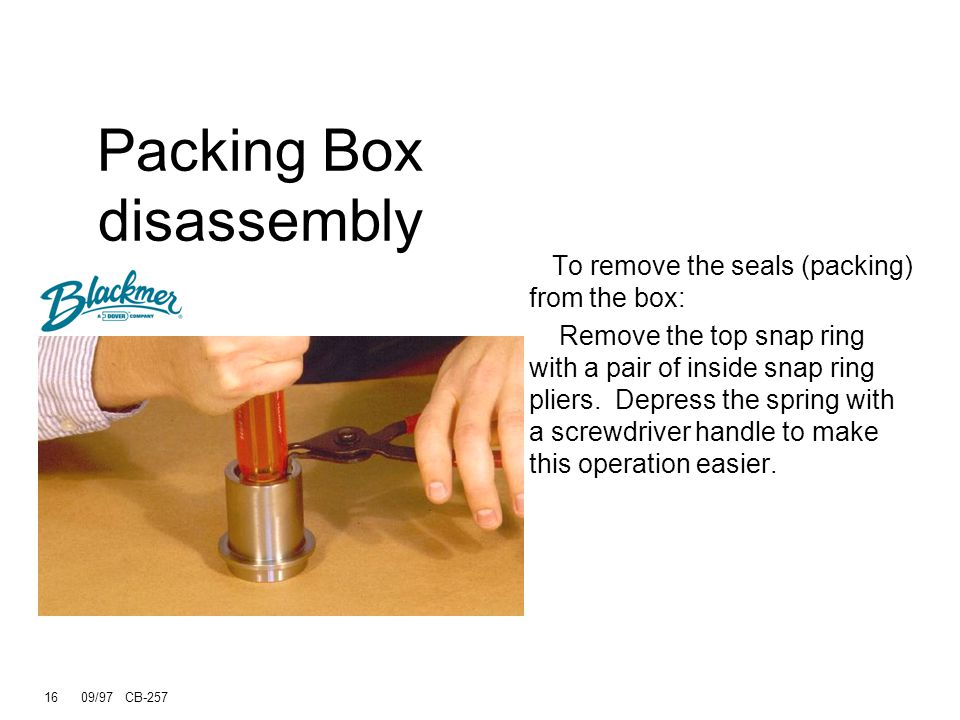 15 09/97 CB-257 Packing Box Removal The packing boxes are secured by a hold down screw which is removed with the same adjustable spanner that was used