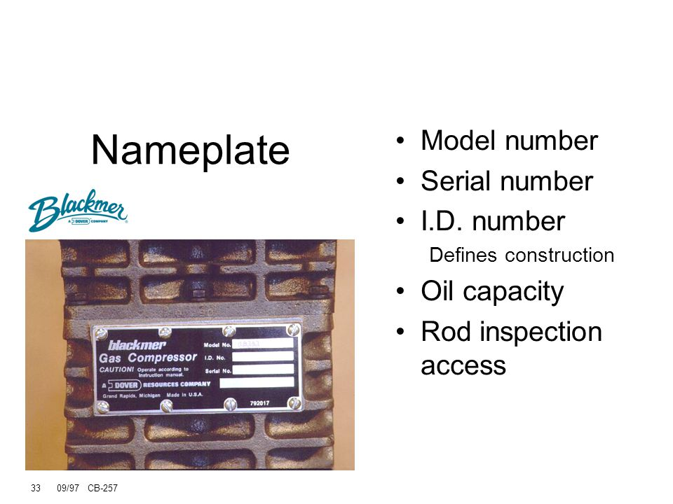 33 09/97 CB-257 Nameplate Model number Serial number I.D.