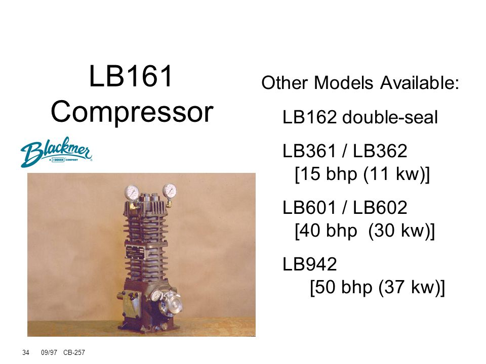 33 09/97 CB-257 Nameplate Model number Serial number I.D. number Defines construction Oil capacity Rod inspection access