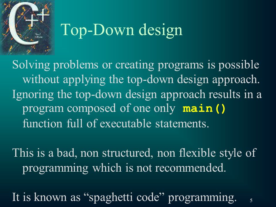 16 Top-Down design – Implementation Function implementing 2 nd basic component (solving a sub sub problem) to draw parallel lines void DrawParallel(void) { cout << endl << | | ; }