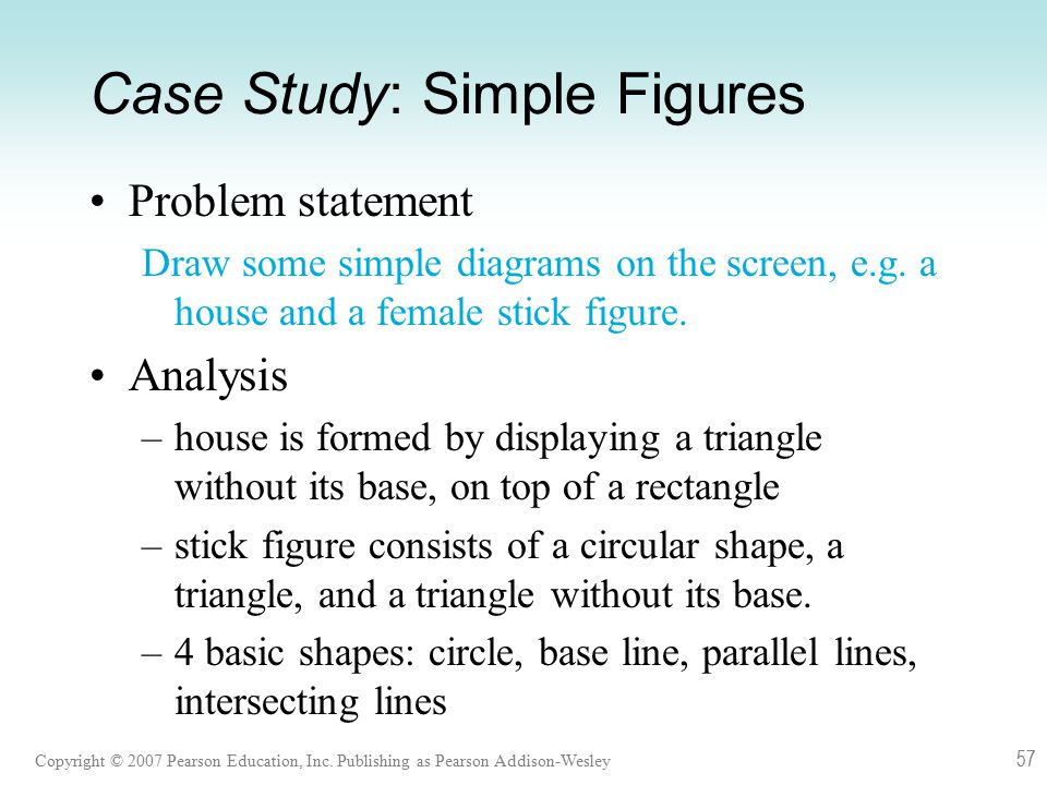 Copyright © 2007 Pearson Education, Inc. Publishing as Pearson Addison-Wesley 57 Case Study: Simple Figures Problem statement Draw some simple diagram