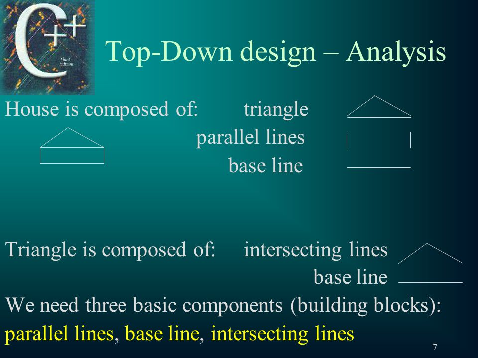 7 Top-Down design – Analysis House is composed of:triangle parallel lines base line Triangle is composed of:intersecting lines base line We need three basic components (building blocks): parallel lines, base line, intersecting lines