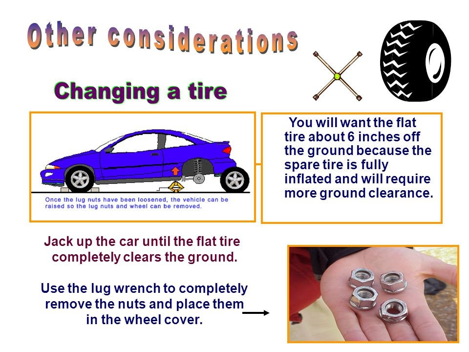 Remove the wheel cover or hubcap and loosen the lug nuts. Some cars do not have hubcaps...consult your owner's manual for proper instructions in remov
