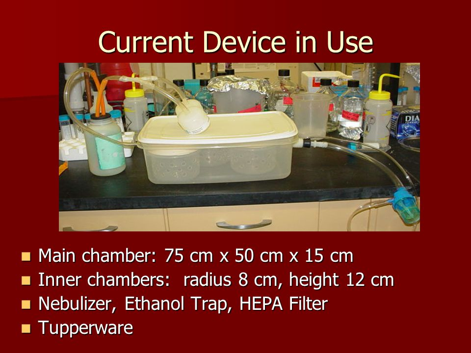 Current Device in Use Main chamber: 75 cm x 50 cm x 15 cm Main chamber: 75 cm x 50 cm x 15 cm Inner chambers: radius 8 cm, height 12 cm Inner chambers: radius 8 cm, height 12 cm Nebulizer, Ethanol Trap, HEPA Filter Nebulizer, Ethanol Trap, HEPA Filter Tupperware Tupperware
