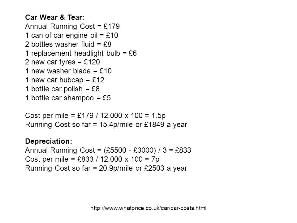 http://www.whatprice.co.uk/car/car-costs.html Car Wear & Tear: Annual Running Cost = £179 1 can of car engine oil = £10 2 bottles washer fluid = £8 1 replacement headlight bulb = £6 2 new car tyres = £120 1 new washer blade = £10 1 new car hubcap = £12 1 bottle car polish = £8 1 bottle car shampoo = £5 Cost per mile = £179 / 12,000 x 100 = 1.5p Running Cost so far = 15.4p/mile or £1849 a year Depreciation: Annual Running Cost = (£5500 - £3000) / 3 = £833 Cost per mile = £833 / 12,000 x 100 = 7p Running Cost so far = 20.9p/mile or £2503 a year