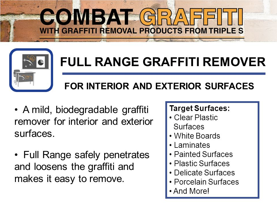 A mild, biodegradable graffiti remover for interior and exterior surfaces.