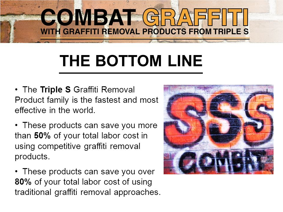 The Triple S Graffiti Removal Product family is the fastest and most effective in the world.