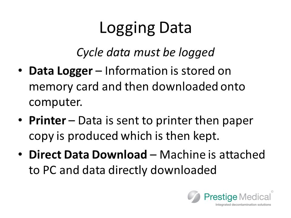 Logging Data Cycle data must be logged Data Logger – Information is stored on memory card and then downloaded onto computer.